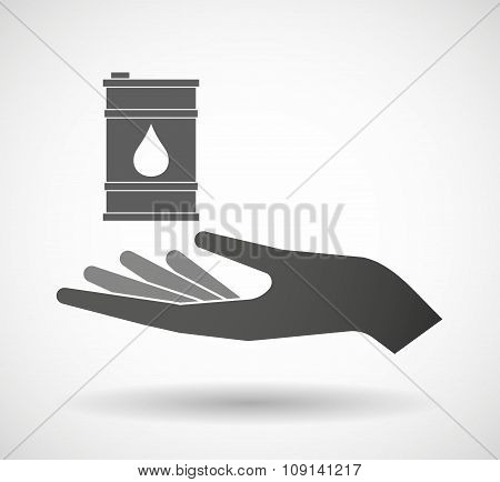 Isolated Vector Hand Giving A Barrel Of Oil