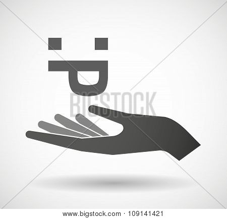Isolated Vector Hand Giving A Sticking Out Tongue Text Face