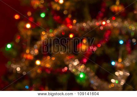 Slightly Defocused Real Horizontal Christmas Bokeh Background