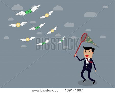 Businessman running with butterfly net