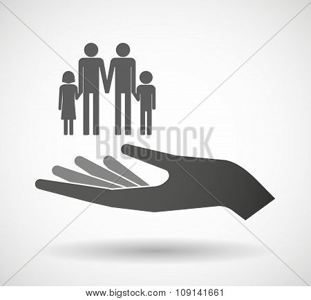 Isolated Vector Hand Giving A Gay Parents  Family Pictogram