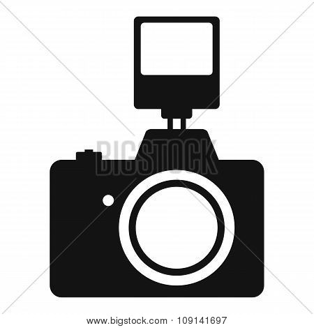 Camera with flash simple icon