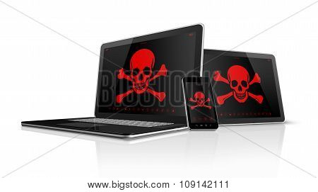 Laptop Tablet Pc And Smartphone With Pirate Symbols On Screen. Hacking Concept