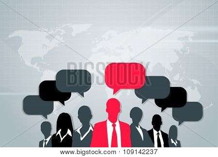 Business People Group Silhouette Speech Chat Bubbles Communication Concept Red