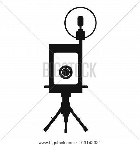 Retro camera black icon