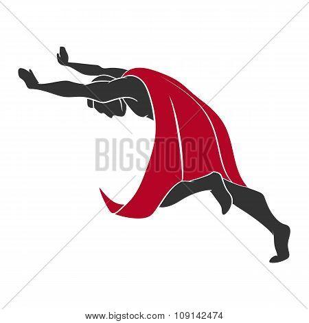 Superhero pushing something