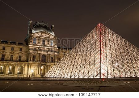 Louvre Museum At Night, France