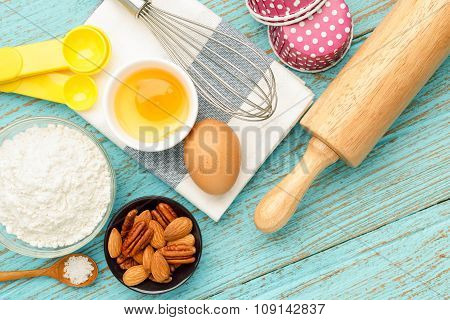 Baking Cupcake With Ingredients And Tools