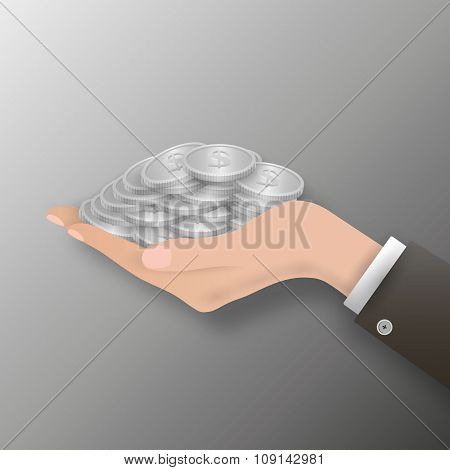 hand full of coin