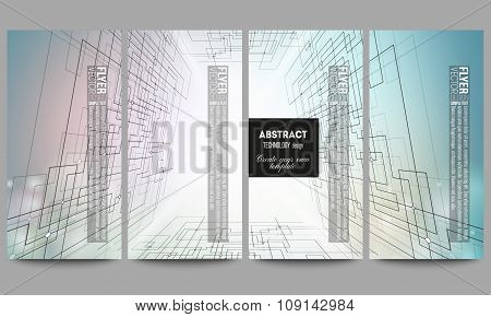 Set of modern vector flyers. Abstract background, digital technologies, cyber space