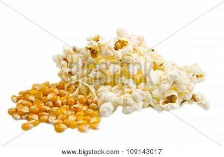 Pop Corn And Kernels Isolated On White Background