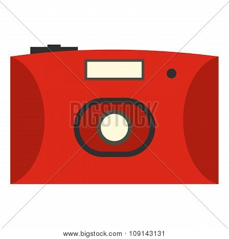 Red camera flat icon