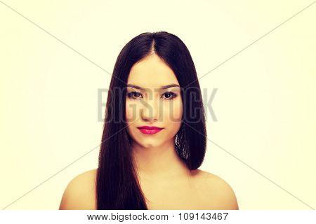 Beautiful caucasian woman with full make up.