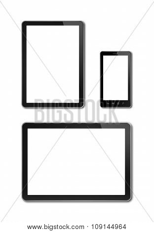 Smartphone And Digital Tablet Pc Mockup Template