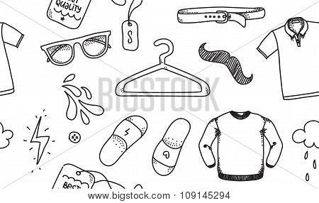 Clothing seamless texture. Background for store, shop or package. Nice casual wear. Hand drawn.
