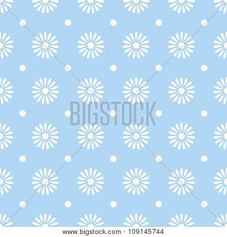 Flower on blue seamless pattern background