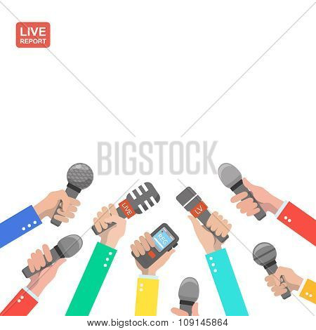 Live report concept, live news, hot news, news report, hands of journalists with microphones and dig