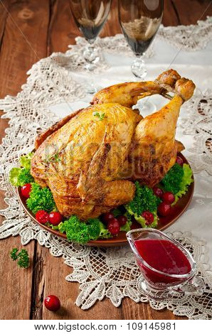 Roast Chicken With Cranberry Sauce