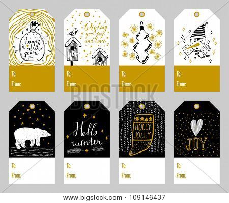 Set of 8 cute christmas gift tags with hand-inked elements