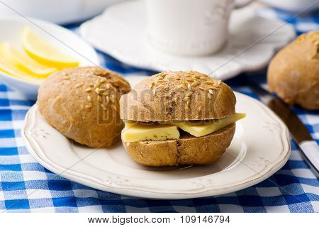Rye Buns With Cheese For A Breakfast