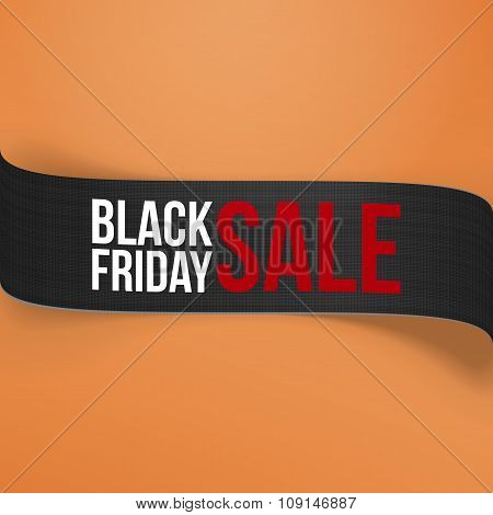 Realistic Black Friday Sale curved Paper Banner