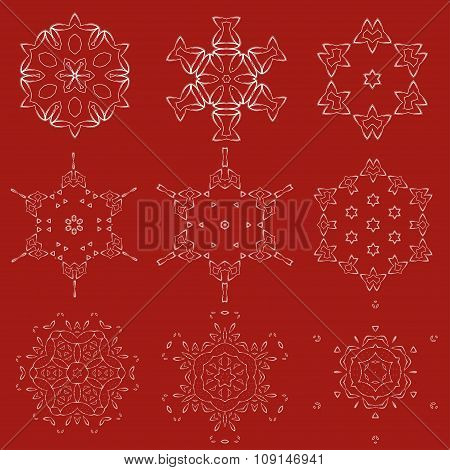 Decorative Christmas Snowflakes Vector Set