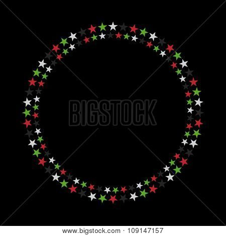 A circular starry vector border. UAE national day design elements.