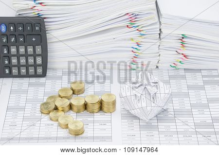 Step Of Gold Coins Put As Arrow With Gift Box