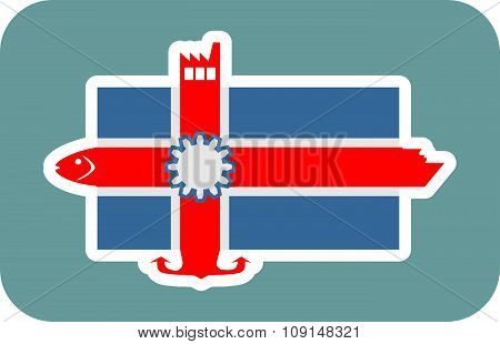 Iceland national flag with icons