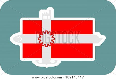 Denmark national flag with icons
