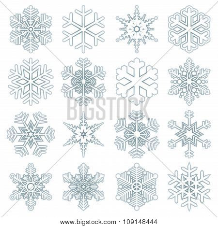 Collection Of Blue Snow Flakes