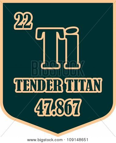 Shield with tender titan text