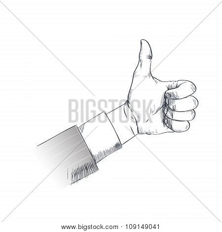 Thumb Up Hand Gesture Business Man Sketch Retro