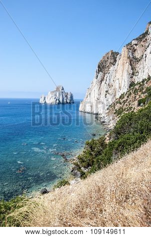 Pan Di Zucchero Rocks In The Sea And Masua's Sea Stack (nedida), Sardinia. Daily