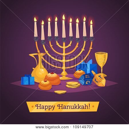 Hanukkah celebration. Set of colorful elements. Stock flat vector illustration set.