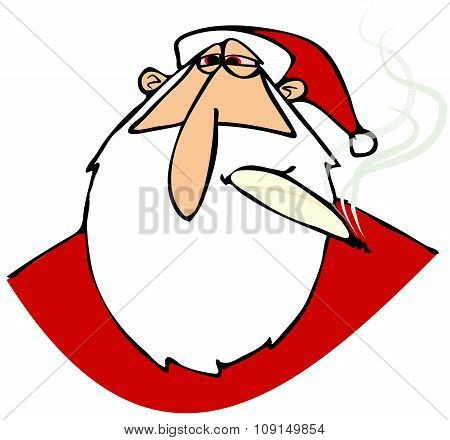 Stoned Santa with red eyes