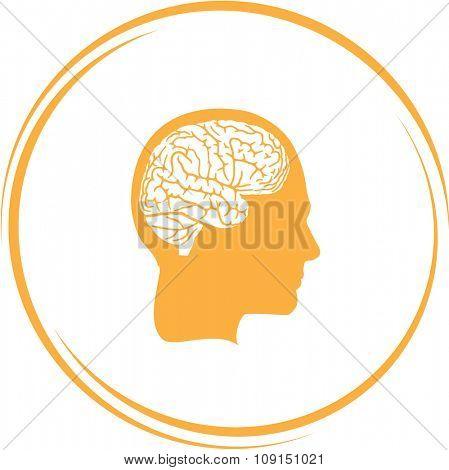 human brain. Internet button. Raster icon.