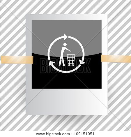 recycling bin. Photoframe. Raster icon.
