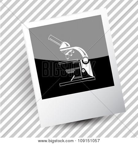 lab microscope. Photoframe. Raster icon.