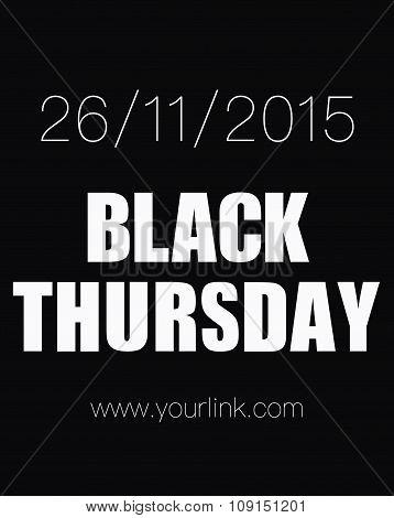 Black Thursday Sale Isolated On Black. Black Friday Banner