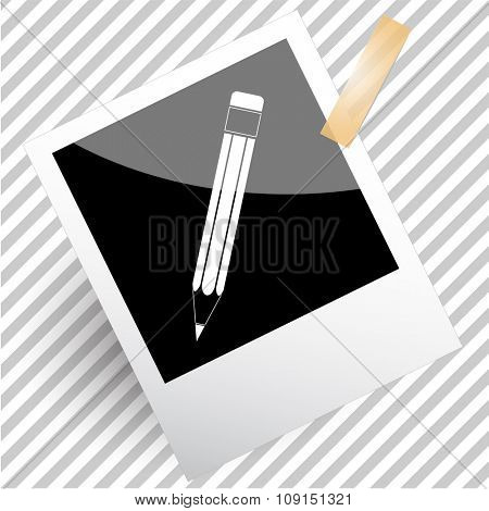 pencil. Photoframe. Raster icon.