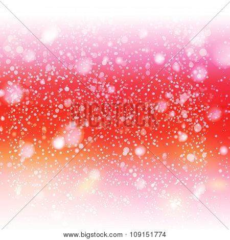 Decorative red sky with snow