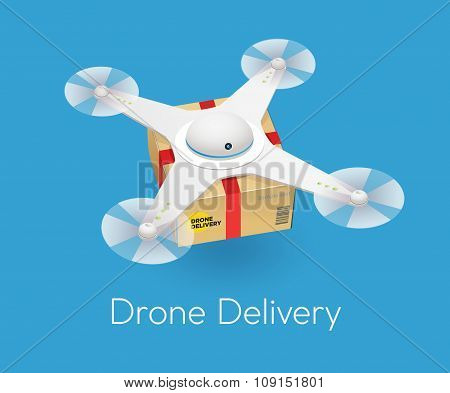 Remote air white modern drone with a box flying against blue background. Isometric vector illustrati