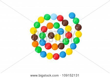 multicolored,  colorful candy, sweets in the shape of spiral isolated on a white background