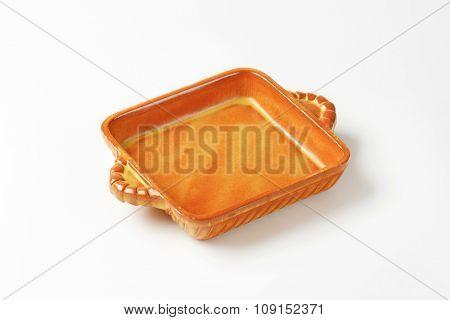 Empty square ceramic baking dish