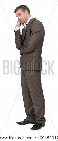 Sad businessman on white