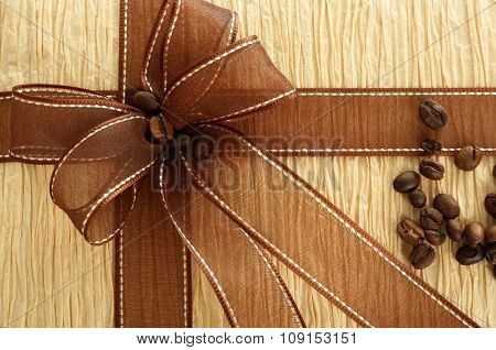 Beautiful gift with bow, close-up