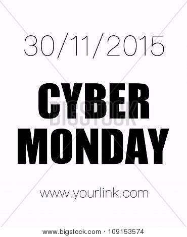 Cyber Monday 30Th Of November Poster, Isolated On White Background