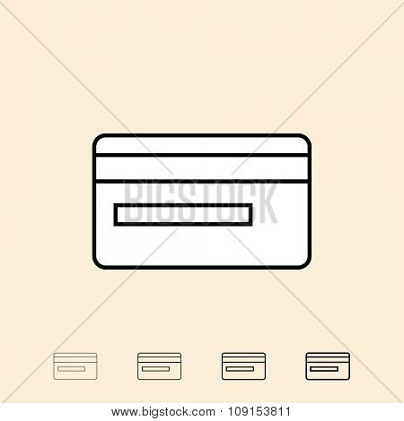 Credit card icon. Vector icon in four different thickness. Linear style