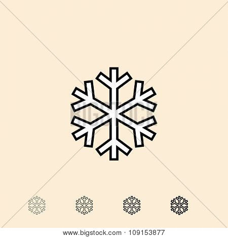 Snowflake icon. Vector icon in four different thickness. Linear style